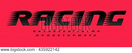 Racing Font Alphabet Letters With Wind Effect. Modern Sport Logo Typography. Car Auto Typographic De