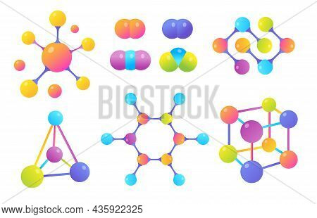 Molecular Structures Vector Illustrations Set. Different Shapes Or Models Of Connected Molecules For