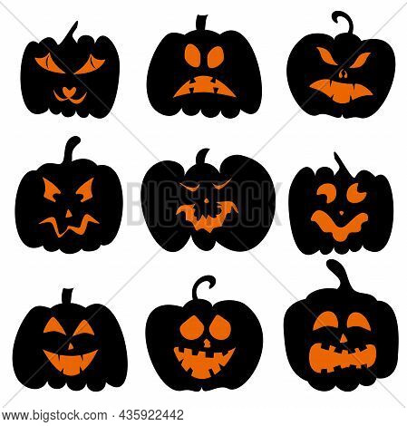 Set Of Pumpkins With Carved Faces For Halloween. For Decorating Holiday Projects, Cards, Invitations