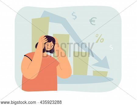 Woman In Depression From Falling Graph, Decline In Income. Loss In Finances, Investments Flat Vector