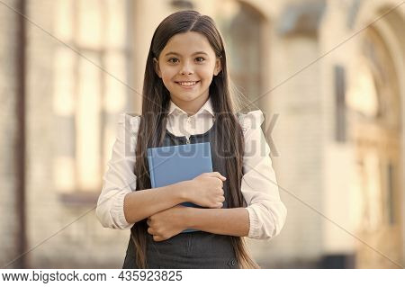 Let The Book Talk. Happy Child Hold Library Book. School Library. Library Reader Outdoors. Cute Book