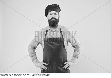 Serious Chef Man Looking For Inspiration Invent Delicious Dishes For Sophisticated Client