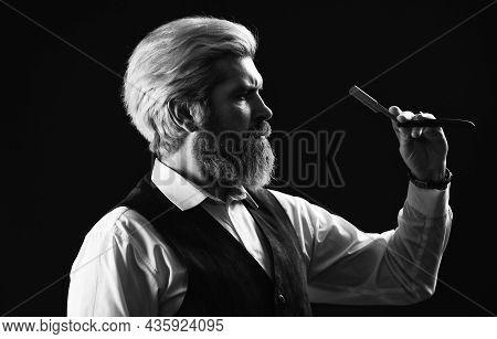Barber Scissors. Barber Shop. Blond Hairdresser Or Barber With Scissors. Hipster Man Hairdresser. Gu