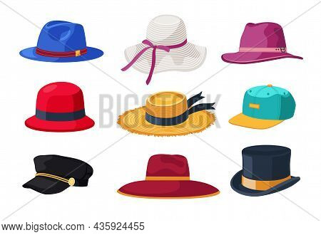 Hats And Caps For Men And Women Cartoon Vector Illustrations Set. Retro And Modern Male And Female H