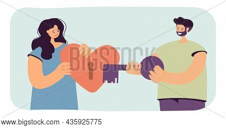 Man With Key Unlocking Woman Heart. Girl Holding Red Heart With Keyhole In Hands Flat Vector Illustr
