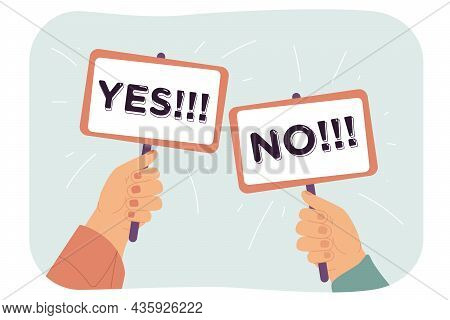 Human Hands Holding Sign Plates With Yes And No Text. Correct Choice, Survey And Voting, True Or Fal