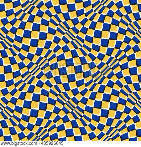 Optical Illusion Seamless Pattern. Moving Repeatable Orange Blue Warped Checkered Texture.