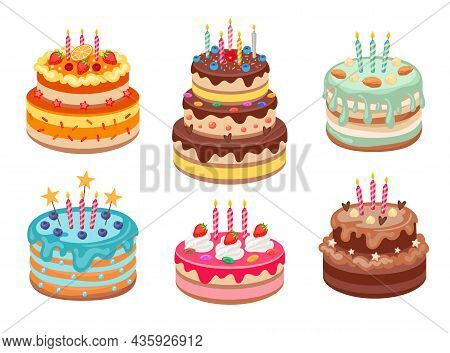 Birthday Cakes With Candles Cartoon Vector Illustrations Set. Delicious Chocolate Cakes Or Pies With