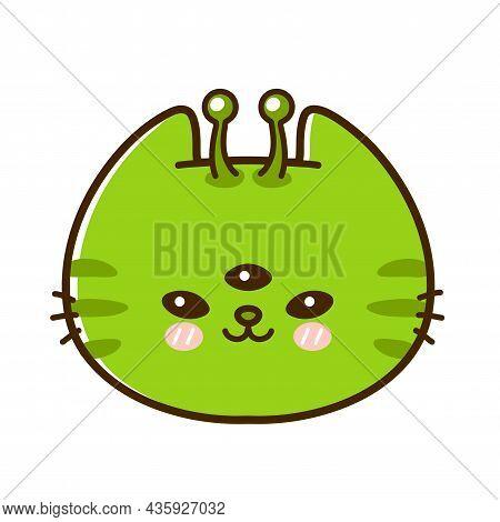 Cute Funny Little Alien Baby Cat Face. Vector Hand Drawn Cartoon Kawaii Character Illustration Logo