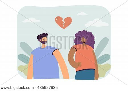 Separation Of Couple People With Broken Heart. Conflict Of Two Man And Woman Flat Vector Illustratio