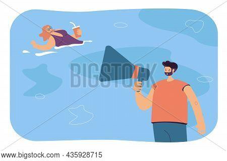 Beach Lifeguard Warning Floating Woman About Danger On Water. Man Holding Megaphone Flat Vector Illu