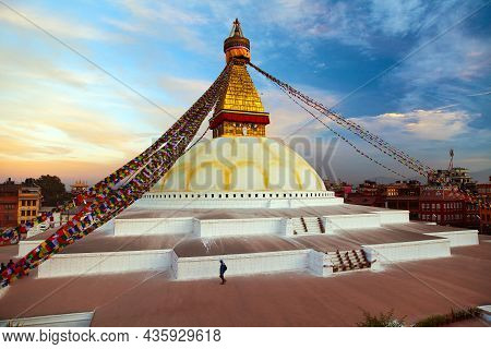 View Of Boudha Or Boudhanath Stupa, One From The Best Buddhist Stupas On The World, The Biggest Stup
