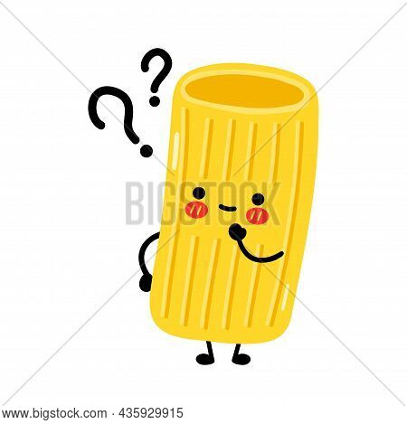 Cute Funny Macaroni Pasta Noodles Character With Question. Vector Hand Drawn Cartoon Kawaii Characte