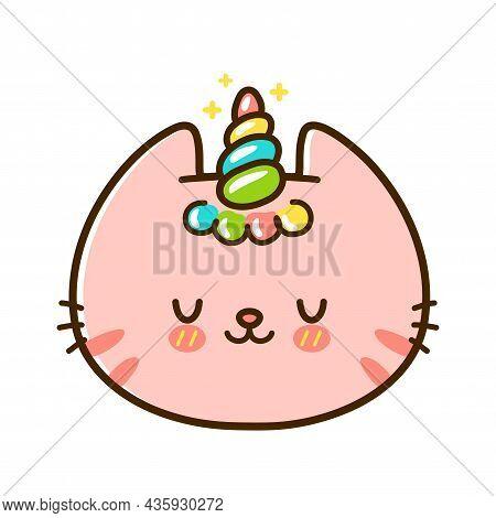 Cute Funny Little Unicorn Baby Cat Face. Vector Hand Drawn Cartoon Kawaii Character Illustration Log