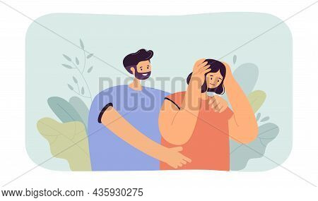Man Comforting And Hugging Sad Woman. Hugs, Love And Care In Couple Of People Flat Vector Illustrati