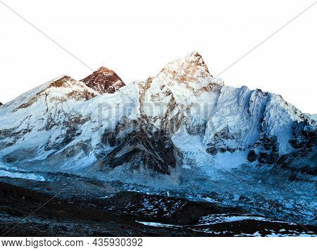 Mount Everest Night View Isolated On White Sky Background, Mt Everest And Nuptse From Kala Patthar,