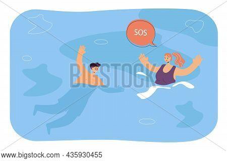 Lifeguard Rescuing Woman Drowning In Water. Male Lifesaver Saving Girl Calling Sos Flat Vector Illus