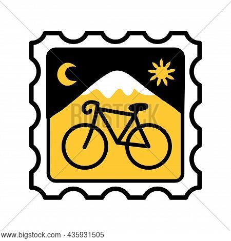 Acid Lsd Paper Blotter Mark With Bicycle. Vector Hand Drawn Doodle Style Cartoon Illustration. Tripp