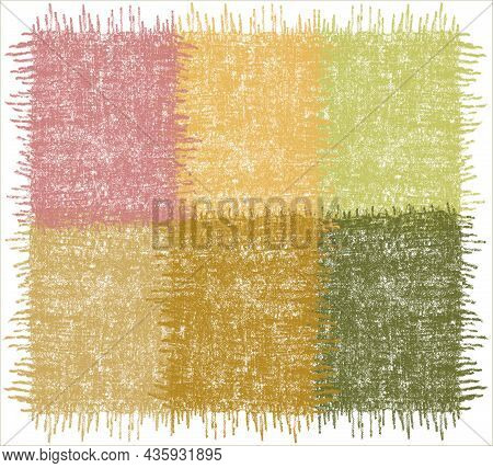 Checkered  Rug, Mat, Carpet, Plaid With Grunge Weave Rough Rectangular Elements In Green, Yellow, Vi