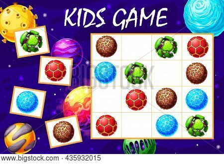 Cartoon Galaxy And Space Planets Sudoku Maze Game. Vector Puzzle, Kids Riddle With Alien Planets On