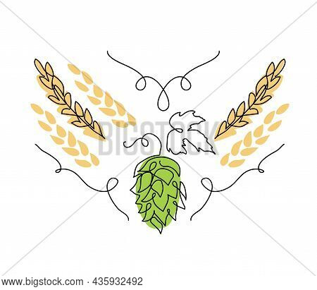 Hop Herb And Spikelets Vector Sketch. One Continuous Line Art Drawing Illustration With Hop And Malt