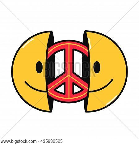 Two Half Of Smile Face With Peace Sign Inside. Vector Hand Drawn Doodle Cartoon Character Illustrati
