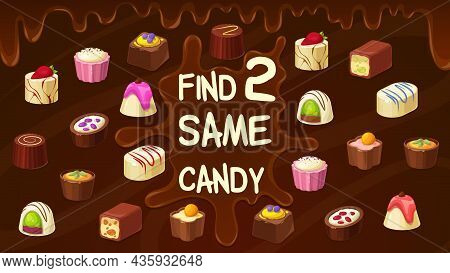 Find Two Same Candies Chocolate Truffle, Roasted Nuts Candy, Praline Sweets. Vector Kids Game Find S