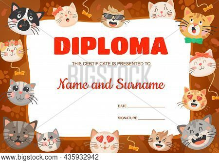 Funny Cartoon Cats Or Kittens Kids Diploma. Vector Certificate Template With Cute Pets. Education Aw