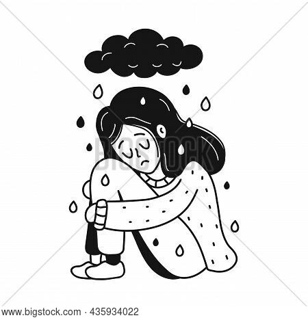 Sad, Unhappy Depressed Young Woman Sitting Under Dark Cloud.psychology, Depression, Bad Mood, Stress