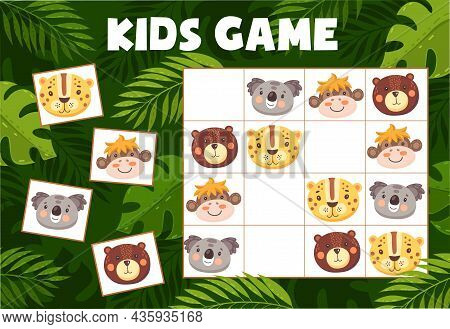 Sudoku Kids Game With Funny Animals, Vector Riddle With Cartoon Characters Koala, Leopard, Bear And