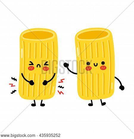 Cute Funny Sad And Happy Macaroni Pasta Noodles Character. Vector Hand Drawn Cartoon Kawaii Characte