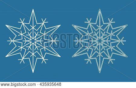 Symmetrical Snowflake, Winter Snowflake Icon, Vector Illustration