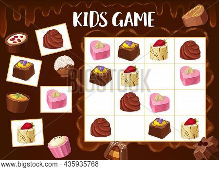 Sudoku Game Chocolate Truffle, Roasted Nuts Candy, Praline Sweets. Kids Vector Riddle With Cartoon D