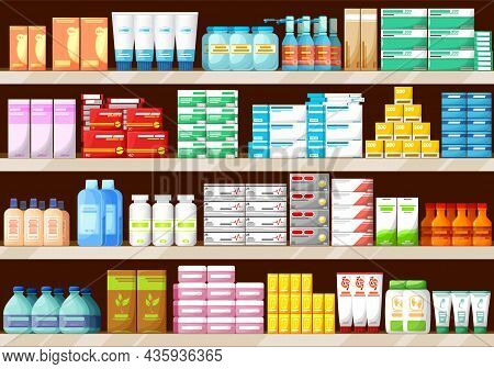 Pharmacy Shelves With Medications, Bottles And Pills, Pharmaceutic Store Interior Vector Background.