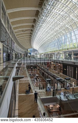 Singapore- 11 Oct, 2021: Marina Bay Sands Shopping Mall Interior Architecture. The Mall Is An Integr