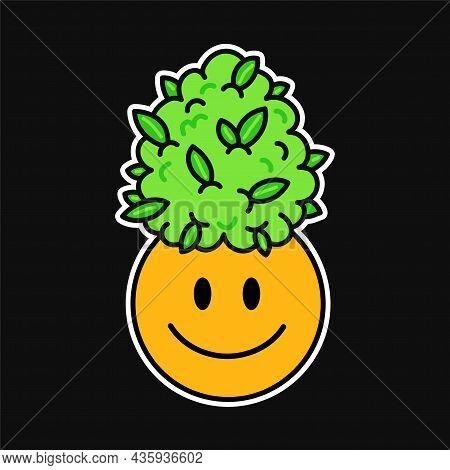 Cute Funny Happy Smile Face And Weed Marijuana Leafs Bud. Vector Kawaii Cartoon Illustration Logo. C
