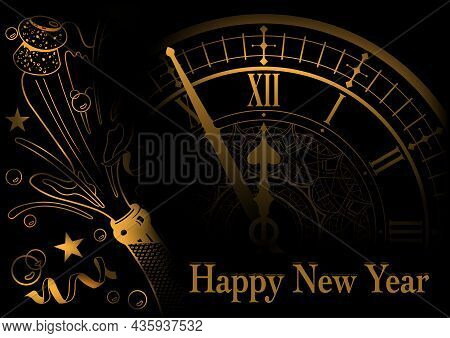 Golden Happy New Year Greeting With Face Clock And Champagne Bottle - Background Illustration, Vecto