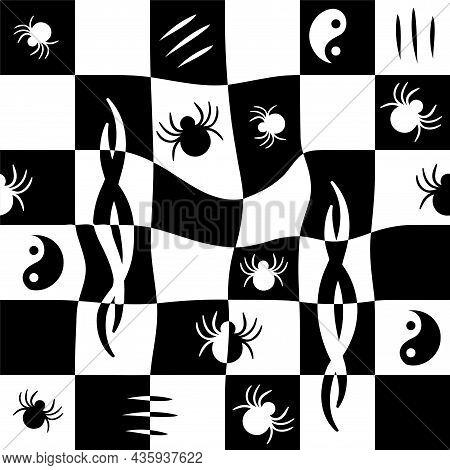 Melt Monochrome Check Grid, Spider Seamless Pattern.vector Hand Drawn Doodle Cartoon Illustration. M