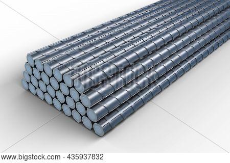 3d Illustration Of Reinforcements Bunch Of Steel Tmt Bar. 3d Render