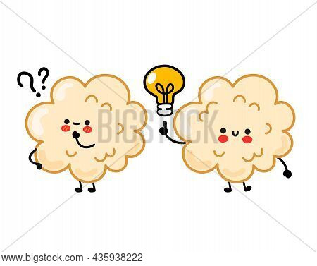 Cute Happy Funny Popcorn With Question Mark And Idea Lightbulb. Vector Hand Drawn Cartoon Kawaii Cha