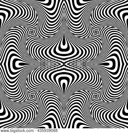 Abstract Seamless Op Art Pattern With Wavy Lines Texture. Vector Art.