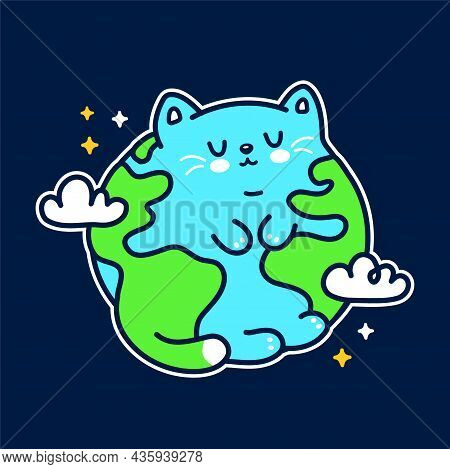 Cute Funny Planet Earth Cat Character. Vector Hand Drawn Doodle Cartoon Kawaii Character Illustratio