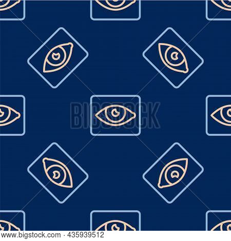 Line Red Eye Effect Icon Isolated Seamless Pattern On Blue Background. Eye Redness Sign. Inflammator