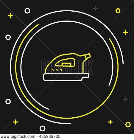 Line Electric Iron Icon Isolated On Black Background. Steam Iron. Colorful Outline Concept. Vector