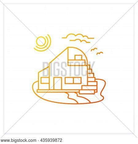 Beach Hut Gradient Icon. Modern Facade Comfortable House On Beach. Perfect Relax Place. Seascape. Re