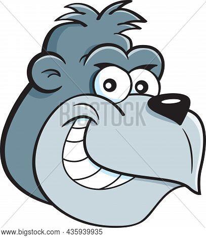 Cartoon Illustration Of A Happy Smiling Gorilla Head.