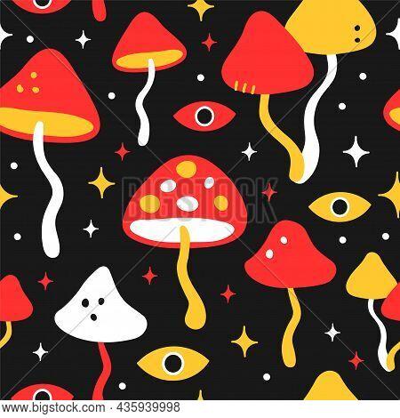 Funny Crazy Psilocybin Magic Mushroom Seamless Pattern.vector Hand Drawn Cartoon Character Illustrat