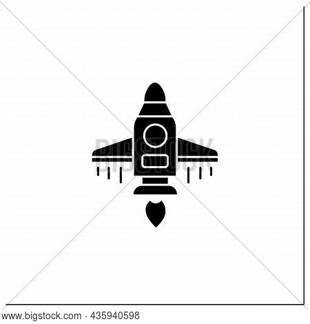 Spaceship Glyph Icon. Spacecraft Controlled By Crew. Ready For Flight. Cosmos Research. Mars Landing