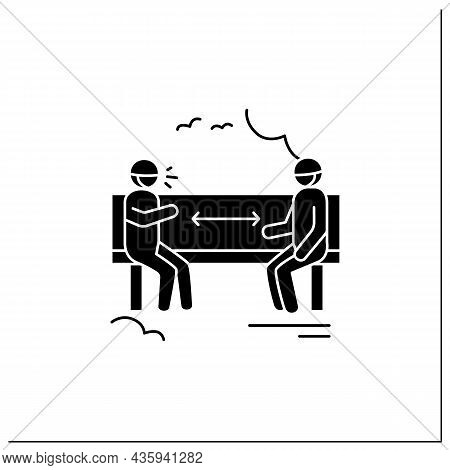 Park Distancing Glyph Icon.two Men Keeping Distance Sitting On Bench.safe Social Communication.covid