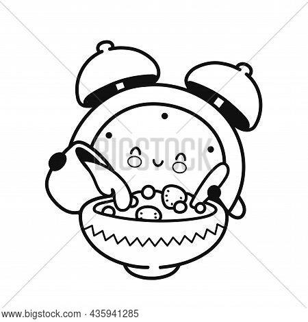 Cute Happy Alarm Clock Pours Milk Into Cereal Page For Coloring Book. Vector Flat Line Cartoon Kawai